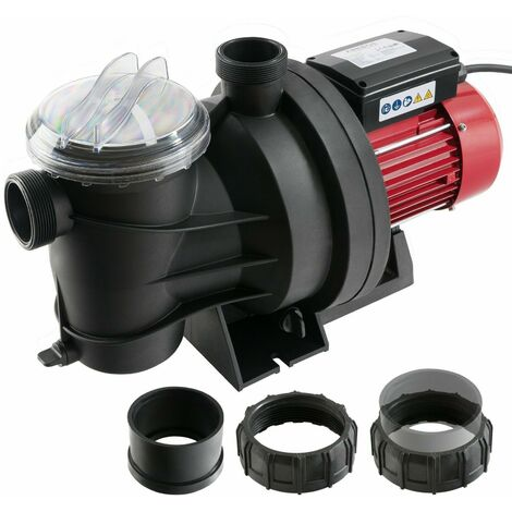 AREBOS Schwimmbadpumpe Umwälzpumpe Poolpumpe Filterpumpe Pumpe 800 W 15.000 l/h - schwarz / rot