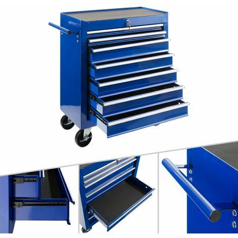 AREBOS Werkstattwagen Werkzeugwagen Rollwagen Toolbox 7 Schubladen kugelgelagert - Blau