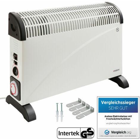 Arebos Konvektor (2000 Watt, Thermostat, Gebläse, Zeitschaltuhr) - Frostwächter Heizlüfter Radiator - weiß