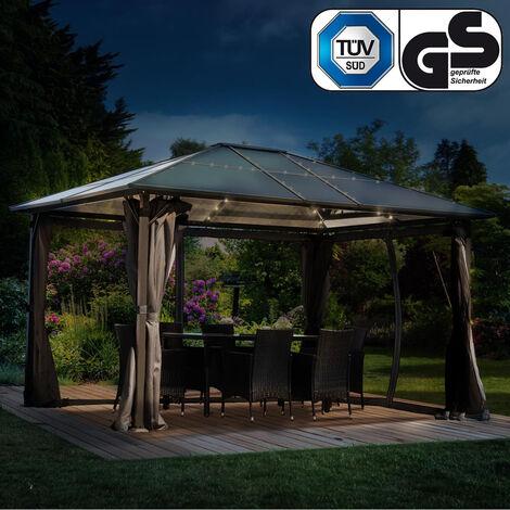 Alu-Pavillon Summerdream 3x4m grau inkl. LEDs