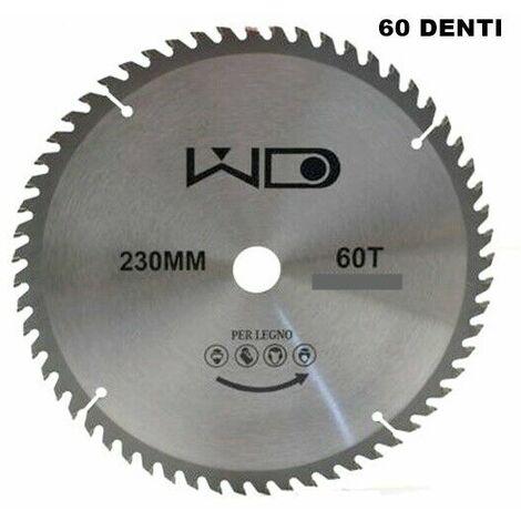 DISCO TAGLIO LEGNO 230mm IN ACCIAIO 60 DENTI FORO 22,23 mm X SMERIGLIATRICE ANG.