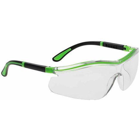 sUw - Contrast Neon Wide Vision Adjustable Lightweight Safety Spectacles, Clear, One size,