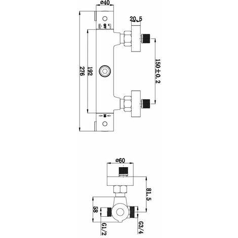 Miscelatore termostatico per colonna doccia doppio attacco