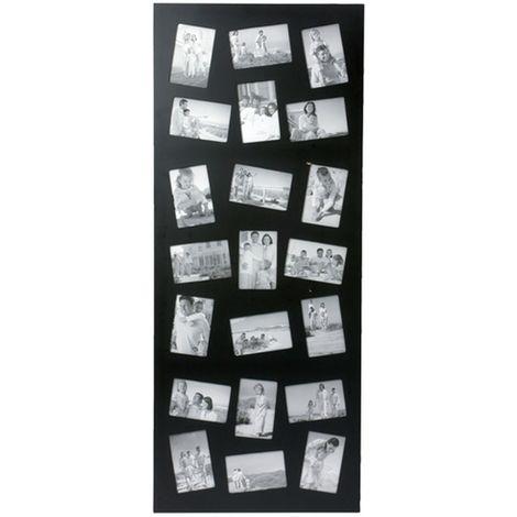 Cadre photos pêle mêle géant design - 21 encarts - 117 x 48 x 1,8 - Noir