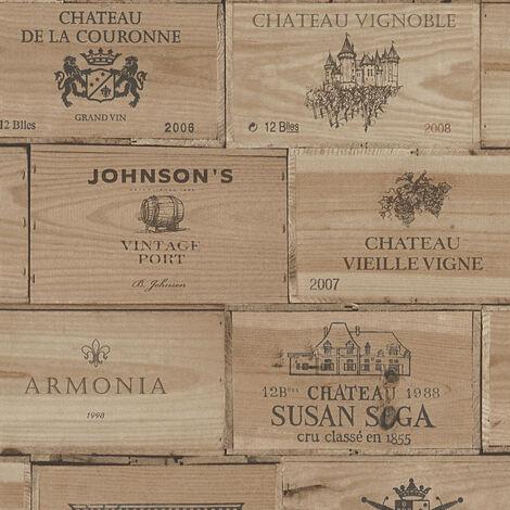 Papier peint caisse de vin | Papier peint Lutèce intissé & vinyle | Papier peint cuisine original, salle à manger & restaurant 304771 - 10,05 x 0,53 m
