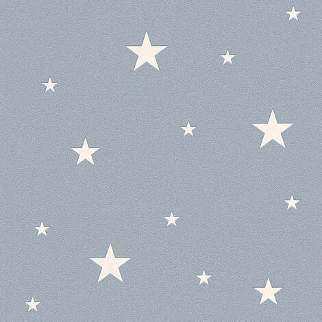 Papier peint étoile phosphorescent   Papier peint enfant gris intissé   Papier peint original pour chambre fille & garçon pas cher324403 - 10,05 x 0,53 m