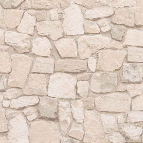 Papier peint effet pierre   Papier peint beige clair pour cuisine, couloir & salon   Papier peint trompe l'oeil692429 - 10,05 x 0,53 m