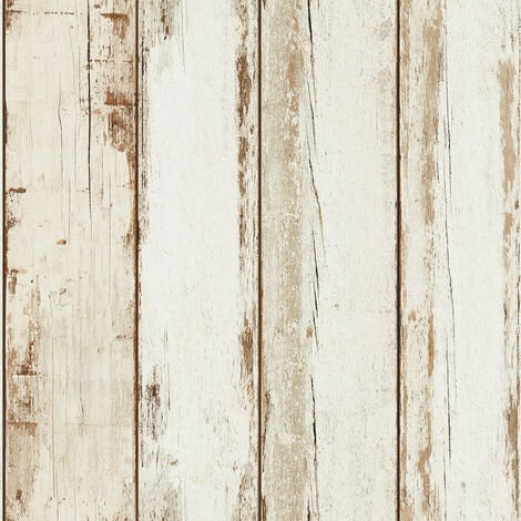 Papier peint imitation bois flotté | Papier peint bois blanc intissé pour couloir étroit et sombre & cuisine !368931 - 10,05 x 0,53 m