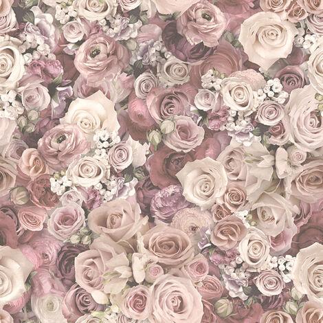 Papier peint avec des roses pas cher | Papier peint fleurs crème beige & rose pâle | SP03796 327222 - 10,05 x 0,53 m