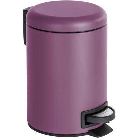 Bad-Mülleimer 3 Liter in Lila matt - Kosmetikeimer inkl. Einsatz - Für Badezimmer & WC - Abfalleimer klein mini