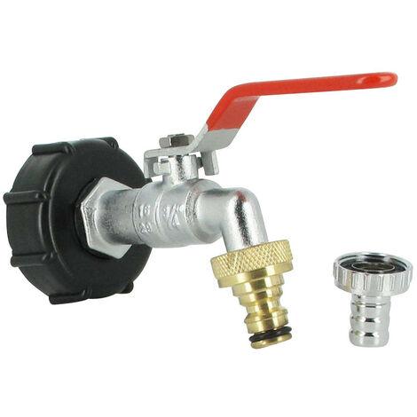 Raccord S60X6 cuve eau - robinet laiton chromé 15 mm + nez de robinet 20x27 laiton