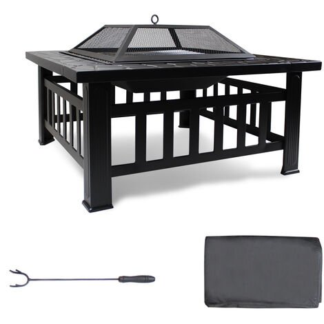 BBQ Brazier, 3-in-1 Fire Pit, 81 x 81 x 45 cm (31.9 x 31.9 x 17.7 inch), Black, Material: Steel