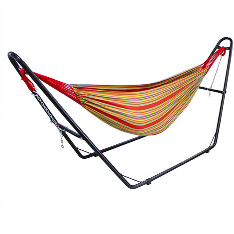 Hanging Bed , Hammock, Red, with Stand H-Type, Cotton, Brazilian, Capacity: For 2 people