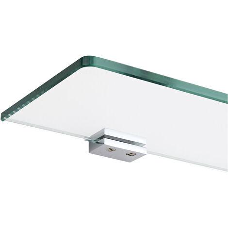 Milano Arvo - Modern Wall Mounted Bathroom Glass Shelf with Square Chrome Brackets - 500mm Length