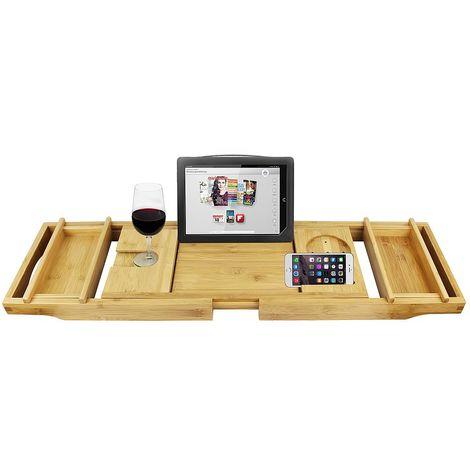 Badewannentablett, Badewannenablage, Mit 2 abnehmbaren Haltern und Seifenhalter, graues Tuch, Material: Bambus