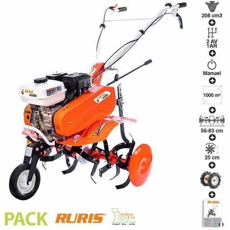 Motoculteur motobineuse 6,5 Cv 6 fraises vitesses 2 AV -1 AR roues agraires 400x8 Ruris DAC 6500K - Orange