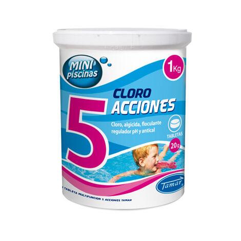 Tamar Cloro 5 Acciones, Tabletas Multifuncion de 20 grs, Especial para Mini Piscinas, 1 Kilo