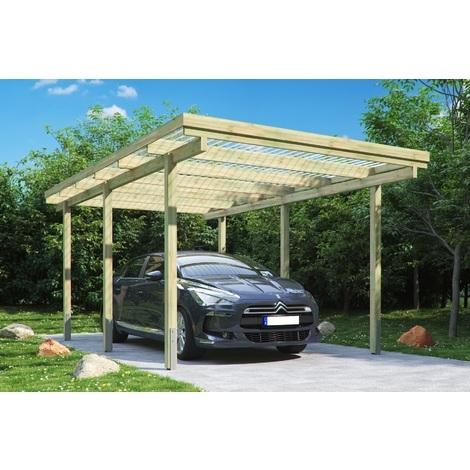 Carport simple en bois traite, 6 poteaux de 9x9x210 cm, 300x500 cm ht. 233 cm, hauteur de passage de 205 cm, largeur de passage de 259 cm, toiture en pvc ondule transparent