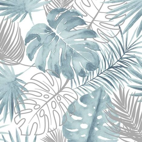 DUTCH WALLCOVERINGS Papel pintado hojas de monstera azul