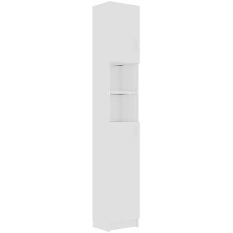 vidaXL Armario de cuarto de baño aglomerado blanco 32x25,5x190 cm - Blanco