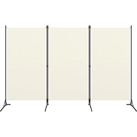 vidaXL Biombo divisor de 3 paneles blanco crema 260x180 cm - Crema