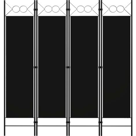 vidaXL Biombo divisor de 4 paneles negro 160x180 cm - Negro