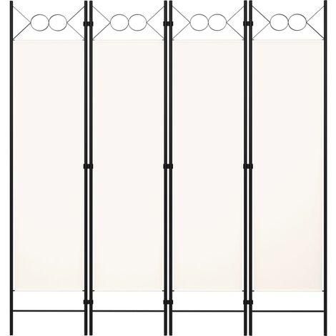 vidaXL Biombo divisor de 4 paneles blanco 160x180 cm - Blanco