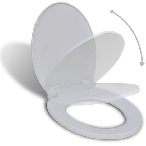 vidaXL Tapa de inodoro de cierre suave blanca ovalada - Blanco
