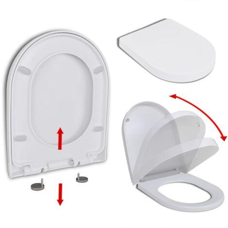 vidaXL Tapa de váter cierre suave y desenganche rápido blanca cuadrado - Blanco