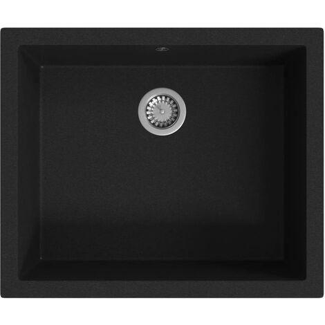 vidaXL Fregadero de cocina con rebosadero granito negro - Negro