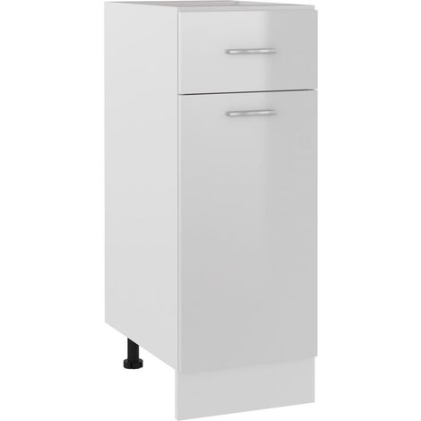 vidaXL Armario inferior con cajón de cocina aglomerado blanco brillo - Blanco