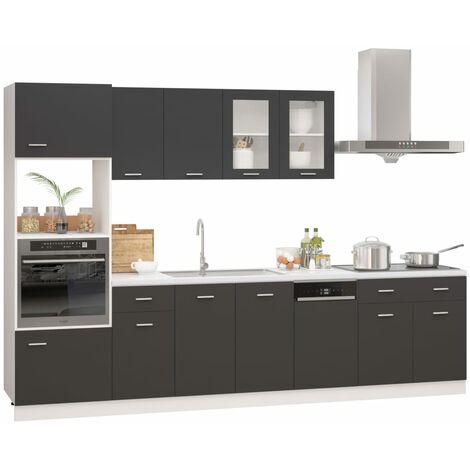 vidaXL Juego de muebles de cocina 7 piezas aglomerado gris brillo - Gris