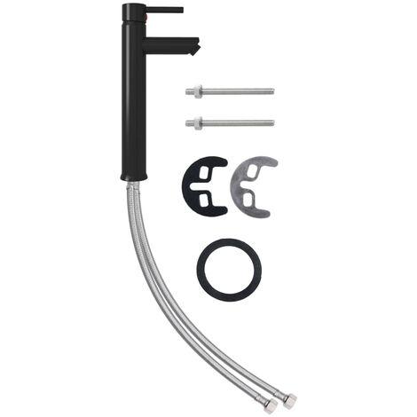 vidaXL Grifo mezclador de cuarto de baño negro 12x30 cm - Negro