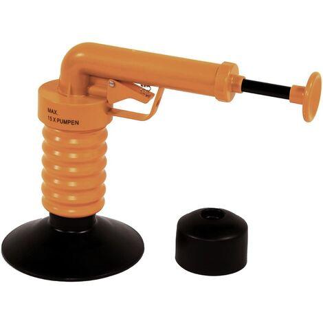 Drain Buster Desatascador de desagües de mano naranja y negro