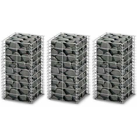 vidaXL Cestas de Muro de Gaviones Alambre Galvanizado 3 Unidades 25x25x50cm - Plateado