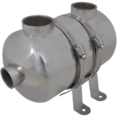 vidaXL Scambiatore di Calore in Acciaio per Piscina Pompa Calore 292x134 mm 28kW