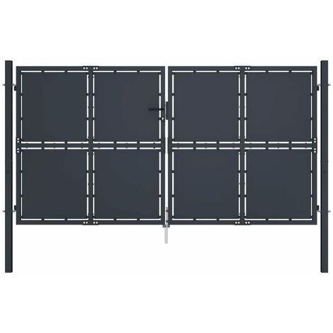 vidaXL Cancello per Giardino in Acciaio 300x200 cm Antracite - Grigio