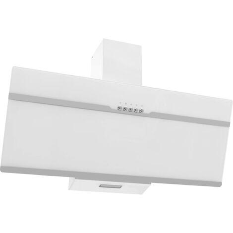 vidaXL Cappa a Muro 90 cm in Acciaio Inox e Vetro Temperato Bianca
