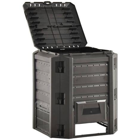 vidaXL Compostiera da Giardino Nera 380 L - Negro
