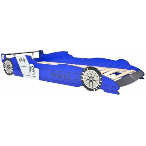 vidaXL Letto Cameretta per Bambini Auto da Corsa Comodo Robusto Divertente Sicuro Lettino Arredi Casa Bimbi MDF 90x200 cm Blu/Rosso