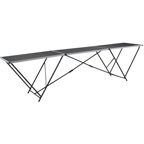 vidaXL Tavolo Pieghevole per Carta da Parati MDF Alluminio 300x60x78cm