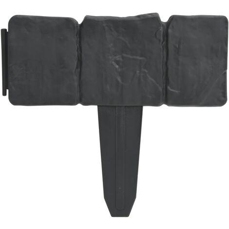 Set 41 pz Recinzione giardino/prato in plastica imitazione pietra 10 m