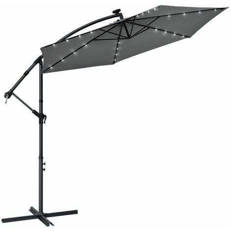 Ampelschirm Brazil 300 cm LED-Beleuchtung Solar & Kurbel – UV-Schutz wasserabweisend knickbar – Sonnenschirm Marktschirm – grau | Juskys