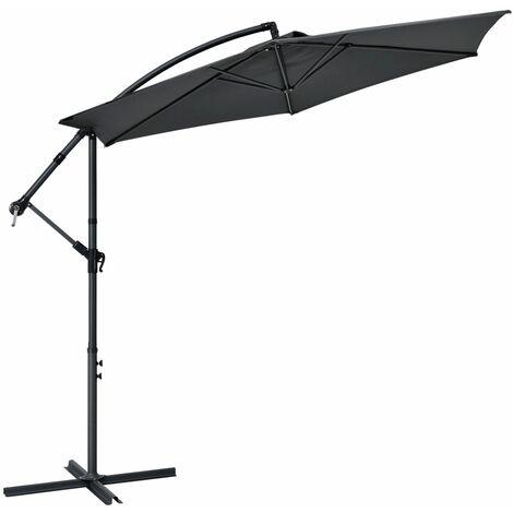 Ampelschirm Brazil 350 cm Kurbel & Ständer – UV-Schutz wasserabweisend knickbar – Sonnenschirm Marktschirm – grau | Juskys