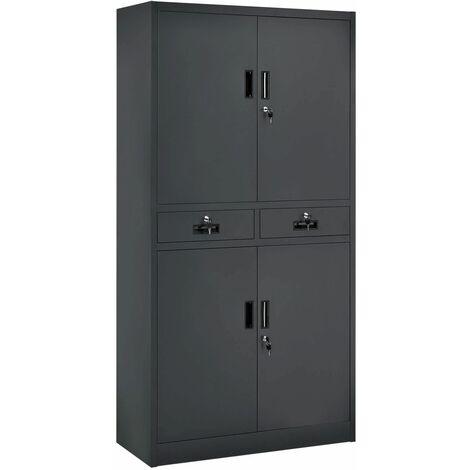 Juskys Metall Aktenschrank Office mit 4 Türen & 2 Schubladen | 180 x 90 cm| abschließbar | 2 Schlüssel| anthrazit | Büroschrank Lagerschrank