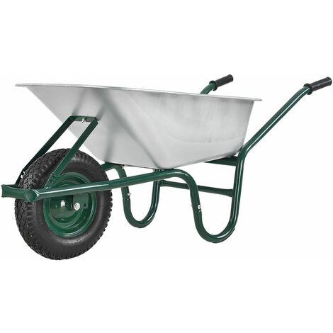 Juskys Schubkarre Garden | 100 Liter Volumen | 210 kg | Luftreifen mit Metall Felge | Wanne verzinkt | Garten Karre Schiebkarre Transportkarre
