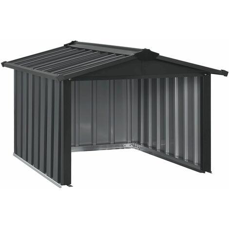 Mähroboter Garage mit Satteldach | Rasenmäher Dach Carport aus Metall | 86 × 98 × 63 cm | Sonnen- und Regenschutz für Rasenroboter | anthrazit | Juskys