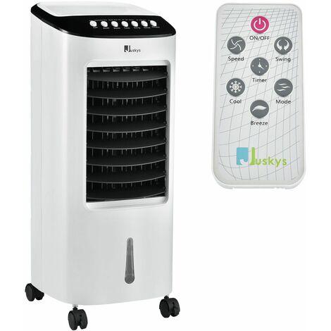 Juskys Mobiles Klimagerät mit Fernbedienung, Schwingfunktion & Timer – Klimaanlage 65 Watt 76cm – Luftkühler 3 Geschwindigkeiten – weiß