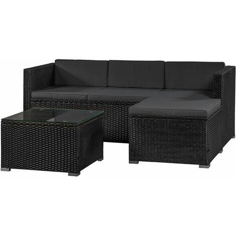 Juskys Polyrattan Lounge Punta Cana M – Sitzgruppe für 3-4 Personen – Schwarz / Grau – Gartenmöbel Set / Gartenlounge mit Sofa, Tisch & Hocker