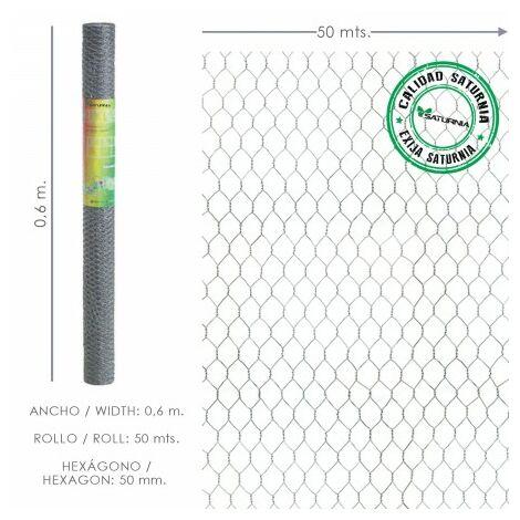 Enrejado triple torsion 50/ 60 cm. rollo 50 metros uso domestico